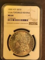 1888 P NGC MINT STATE 64 VAM 7 DOUBLED REVERSE HOT 50 MORGAN SILVER DOLLAR