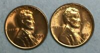 1954 S & 1956 D WHEAT CENT PENNIES BRILLIANT UNCIRCULATED RED COPPER COINS CO442