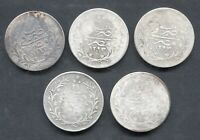 1884 1898 EGYPT 20 QIRSH SILVER LOW GRADE LOT OF 5 COINS 3.7