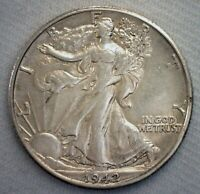 1942 D/S WALKING LIBERTY SILVER HALF DOLLAR AU 50C US COIN  VARIETY D OVER S
