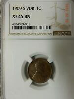 1909-S VDB EXTRA FINE -45 BN KEY DATE LINCOLN CENT NGC  GRADED