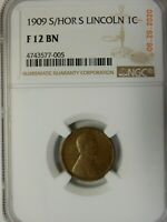 1909-S/HOR S LINCOLN  CENT 1C - NGC F 12 BN -