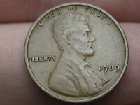1909 VDB LINCOLN CENT WHEAT CENT, EXTRA FINE  DETAILS