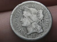 1865-1889 THREE 3 CENT NICKEL- CIVIL WAR TYPE COIN