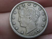 1897 LIBERTY HEAD V NICKEL 5 CENT PIECE- EXTRA FINE  DETAILS