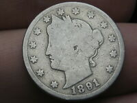 1891 LIBERTY HEAD V NICKEL 5 CENT PIECE- GOOD DETAILS, FULL DATE