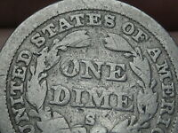 1858 S SEATED LIBERTY DIME- VG DETAILS