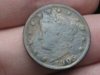 1905 LIBERTY HEAD V NICKEL- FINE DETAILS, TONED