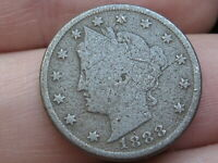1888 LIBERTY HEAD V NICKEL 5 CENT PIECE- VG DETAILS, FULL DATE