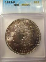 1921-D MORGAN SILVER DOLLAR ICG MINT STATE 64