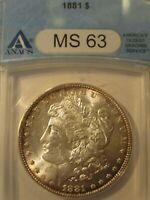 1881 MORGAN SILVER DOLLAR ANACS MINT STATE 63