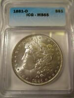 1881-O MORGAN SILVER DOLLAR MINT STATE 65 ICG  VALUE $1150