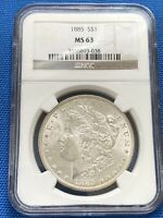 1885-P $1 MORGAN SILVER DOLLAR NGC MINT STATE 63, GREAT COIN WITH EYE APPEAL TONING