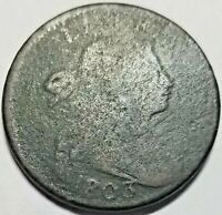 1803 DRAPED BUST LARGE CENT SMALL DATE SMALL FRACTIONS AG SHIPS FREE