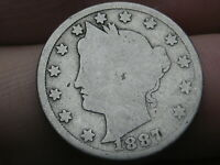 1887 LIBERTY HEAD V NICKEL 5 CENT PIECE- DATE OVERLAPPING BUST