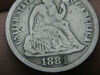 1881 SEATED LIBERTY SILVER DIME-  DATE