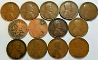 1909-1919 LINCOLN PENNY LOT 13 DIFFERENT COINS W/ 1909 VDB AG-F SHIPS FREE