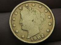 1902 LIBERTY HEAD V NICKEL- FINE DETAILS, GOLD PLATED RACKETEER STYLE