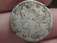 1891 LIBERTY HEAD V NICKEL- FINE/VF DETAILS