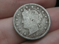 1890 LIBERTY HEAD V NICKEL 5 CENT PIECE- VG/FINE DETAILS