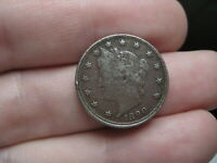 1890 LIBERTY HEAD V NICKEL 5 CENT PIECE- FINE/VF DETAILS