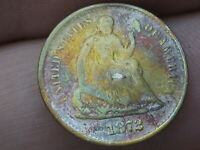 1872 S SEATED LIBERTY HALF DIME- MINTMARK MM BELOW BOW WREATH
