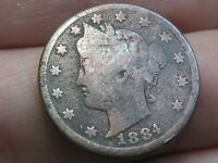 1884 LIBERTY HEAD V NICKEL 5 CENT PIECE- VG DETAILS, FULL DATE, COPPER TONED