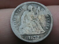 1872 P SEATED LIBERTY HALF DIME- GOOD DETAILS