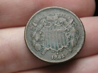 1865 TWO 2 CENT PIECE- FANCY 5, WE VISIBLE, VF DETAILS