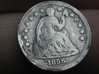 1856 P SEATED LIBERTY HALF DIME- VG DETAILS