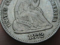 1872 P SEATED LIBERTY HALF DIME- VF DETAILS