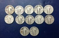 LOT OF 12 25C STANDING LIBERTY QUARTERS, COMMON DATES, VARIOUS MINTS, 90 SILVER