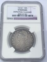 1818/7 CAPPED BUST HALF DOLLAR NGC VF DETAILS LETTERED EDGE BEAUTIFUL COIN