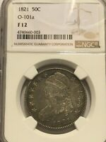 1821 CAPPED BUST SILVER HALF DOLLAR NGC F12 0-101A BEAUTIFUL COIN LOTS OF DETAIL