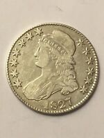 1827 CAPPED BUST HALF DOLLAR EXTRA FINE -AU LETTERED EDGE BEAUTIFUL COIN