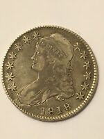 1818 CAPPED BUST HALF DOLLAR VF DETAILS LETTERED EDGE PINCHED 8S  DATE