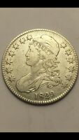 1829 CAPPED BUST SILVER HALF DOLLAR VF-EXTRA FINE  DETAILS LETTERED EDGE  BEAUTIFUL