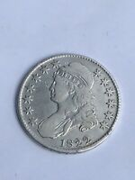 1822 CAPPED BUST HALF DOLLAR VF DETAILS LETTERED EDGE  DATE  COIN