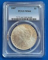 1887 MORGAN SILVER DOLLAR PCGS CERTIFIED MINT STATE 64 TOP 100