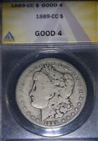 1889 CC MORGAN SILVER DOLLAR ANACS GOOD 4, KING OF THE KEY DATES, ISSUE FREE