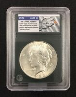 1922 $1 PEACE DOLLAR, VAM-13 DOUBLED LEAVES, FEATHERS, CH. BUI