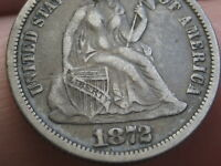 1872 SEATED LIBERTY SILVER DIME- FINE/VF DETAILS