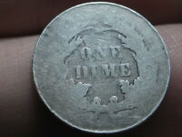 1890 P SEATED LIBERTY SILVER DIME- HEAVILY WORN, LOWBALL
