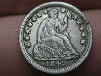 1849/6 P SEATED LIBERTY HALF DIME- 9 OVER WIDELY PLACED 6, EXTRA FINE  DETAILS