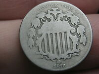 1873 SHIELD NICKEL 5 CENT PIECE- CLOSED 3, VG DETAILS