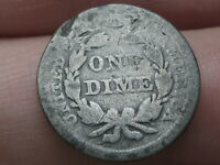 1857 SEATED LIBERTY SILVER DIME- GOOD DETAILS