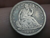 1840 P SEATED LIBERTY HALF DIME- NO DRAPERY, VG/FINE DETAILS