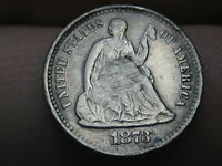1873 S SEATED LIBERTY HALF DIME- VF DETAILS