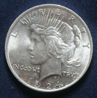 1924-P PEACE SILVER DOLLAR 90 SILVER  LOT 031050