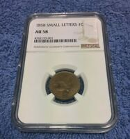 1858 FLYING EAGLE CENT PENNY NGC AU 58 ALMOST UNCIRCULATED CERTIFIED